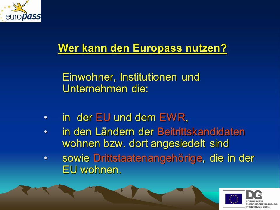 Wer kann den Europass nutzen