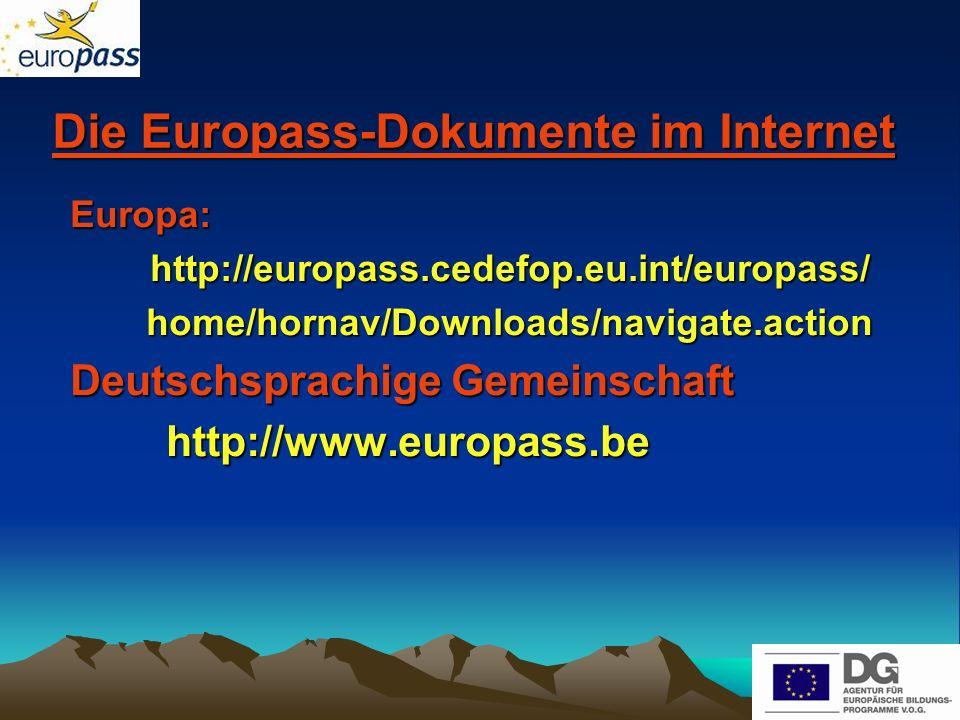 Die Europass-Dokumente im Internet