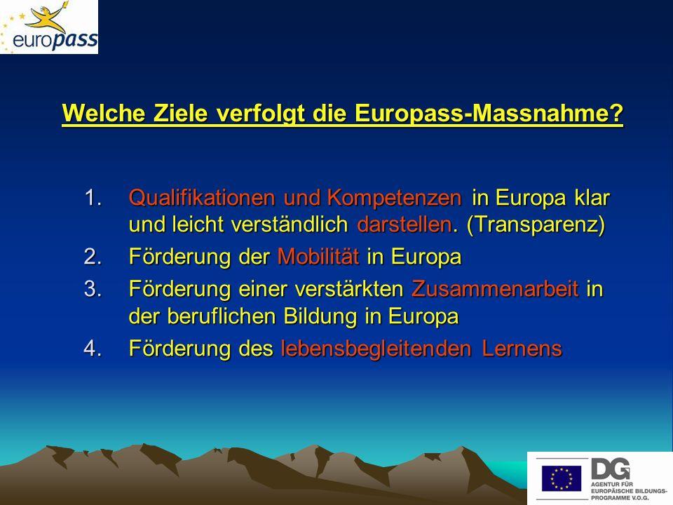 Welche Ziele verfolgt die Europass-Massnahme