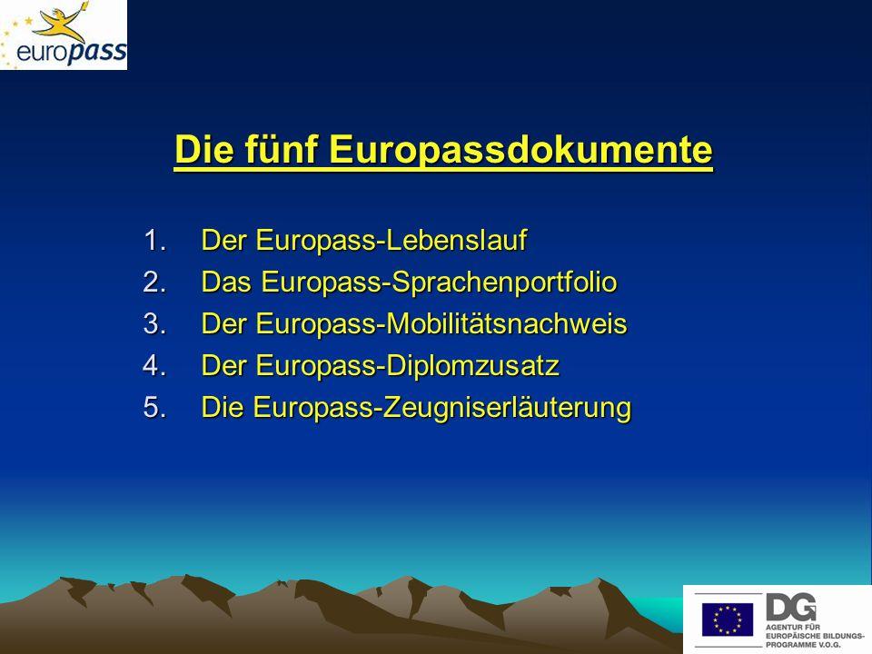 Die fünf Europassdokumente