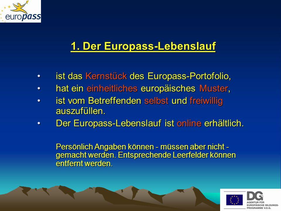 1. Der Europass-Lebenslauf