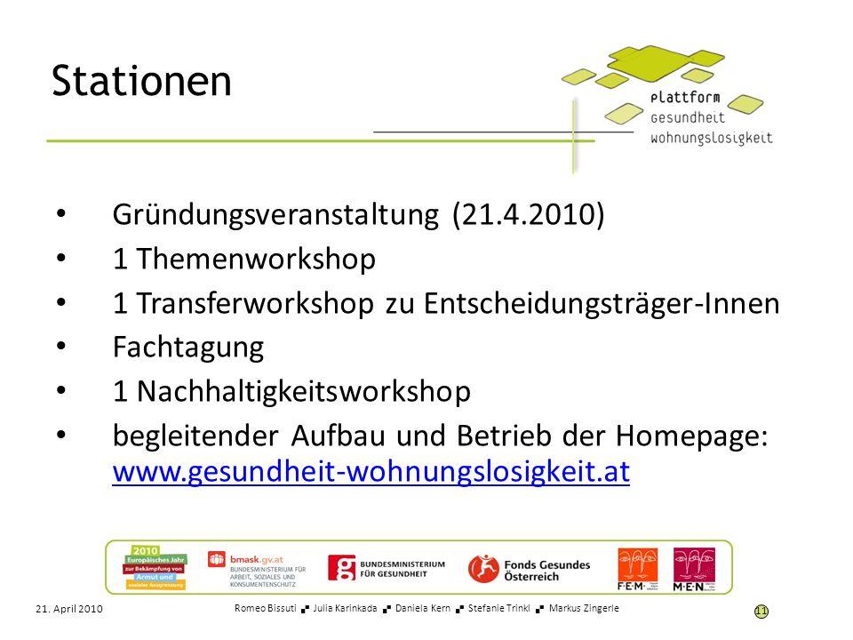Stationen Gründungsveranstaltung (21.4.2010) 1 Themenworkshop