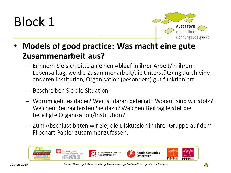 Block 1 Models of good practice: Was macht eine gute Zusammenarbeit aus