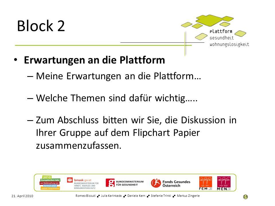 Block 2 Erwartungen an die Plattform