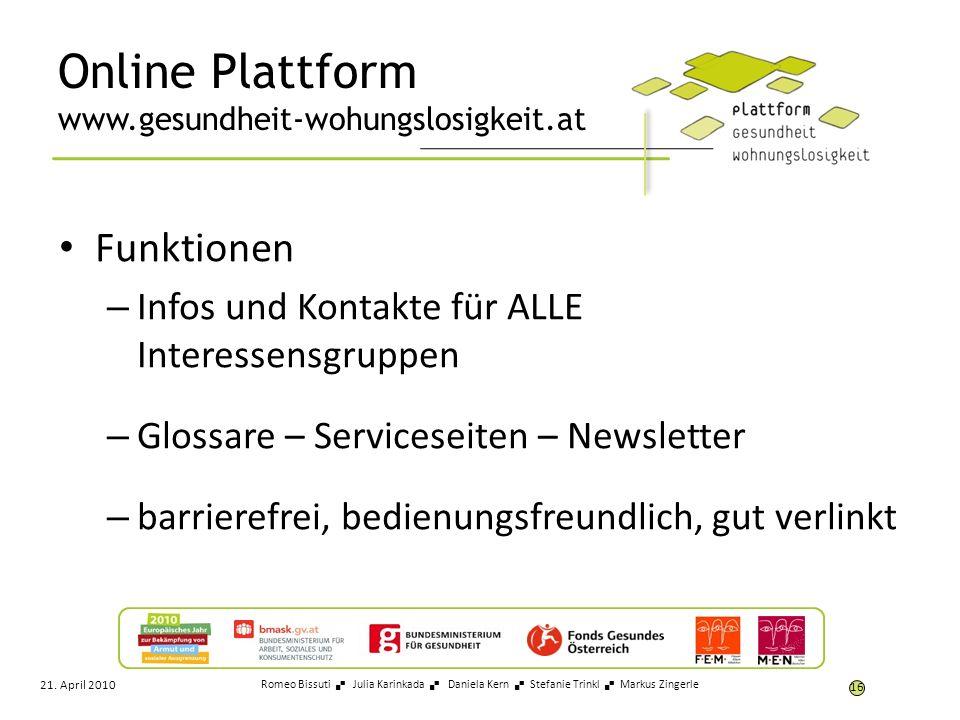 Online Plattform www.gesundheit-wohungslosigkeit.at