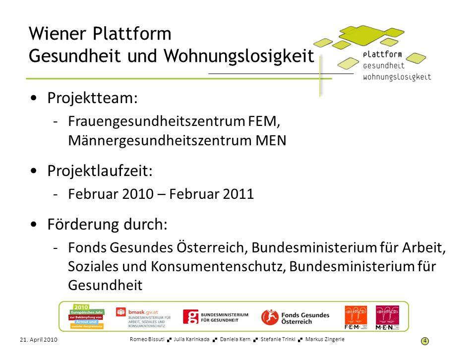 Wiener Plattform Gesundheit und Wohnungslosigkeit