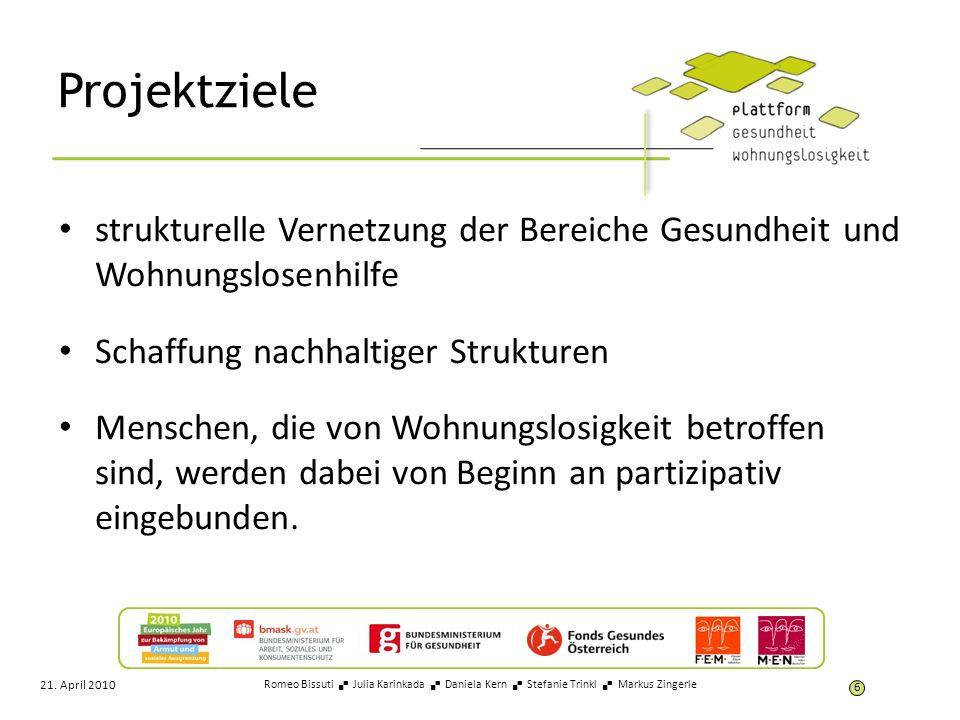 Projektziele strukturelle Vernetzung der Bereiche Gesundheit und Wohnungslosenhilfe. Schaffung nachhaltiger Strukturen.