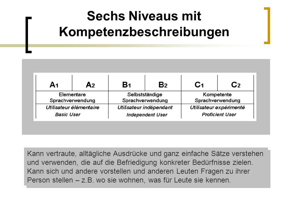 Sechs Niveaus mit Kompetenzbeschreibungen