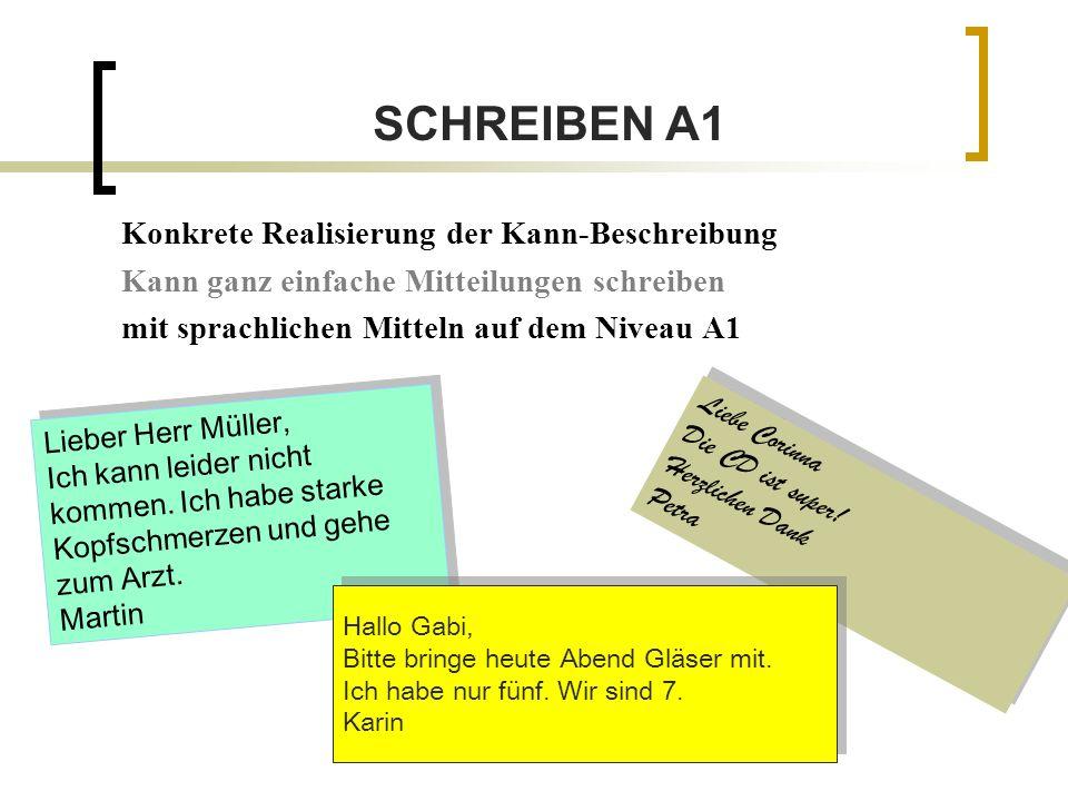 SCHREIBEN A1 Konkrete Realisierung der Kann-Beschreibung