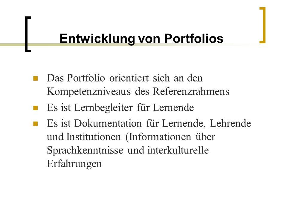 Entwicklung von Portfolios