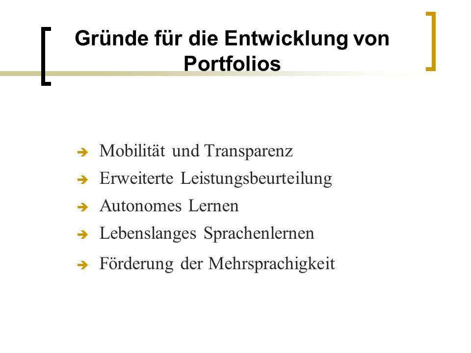 Gründe für die Entwicklung von Portfolios