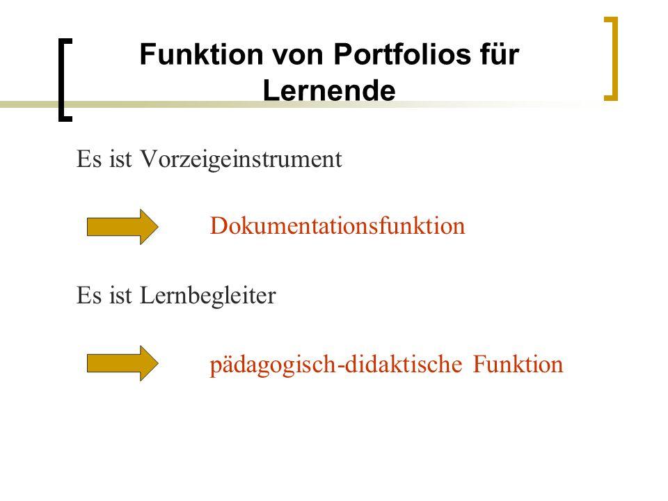 Funktion von Portfolios für Lernende