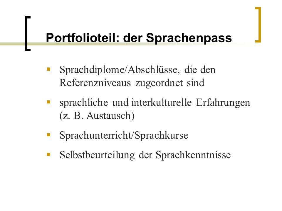 Portfolioteil: der Sprachenpass