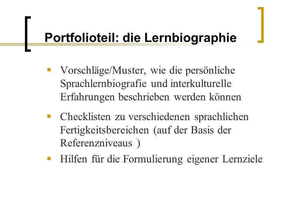 Portfolioteil: die Lernbiographie