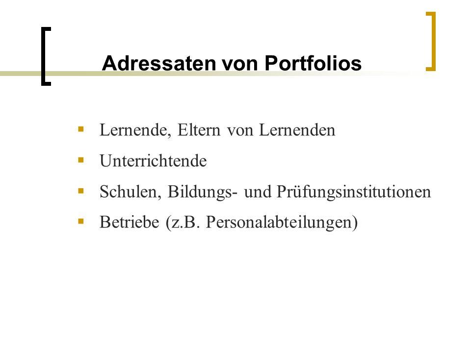 Adressaten von Portfolios