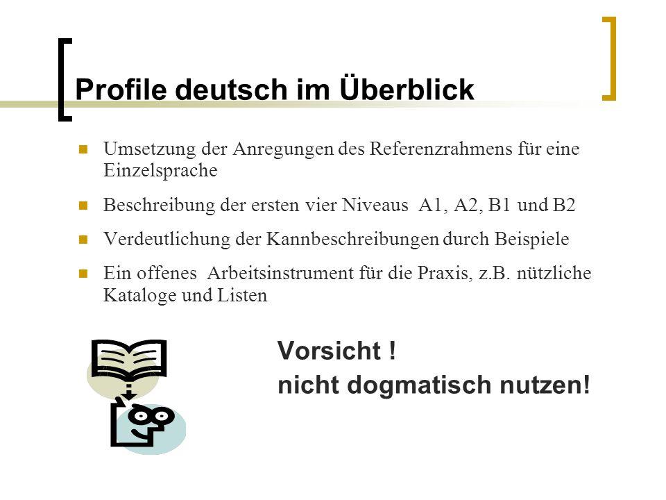 Profile deutsch im Überblick