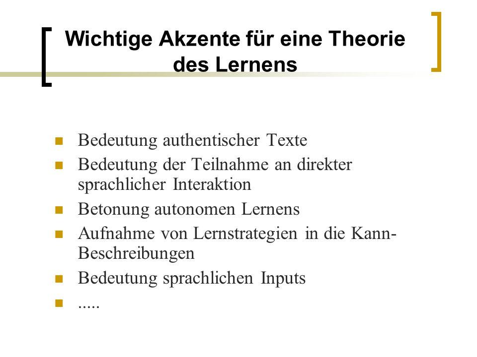 Wichtige Akzente für eine Theorie des Lernens