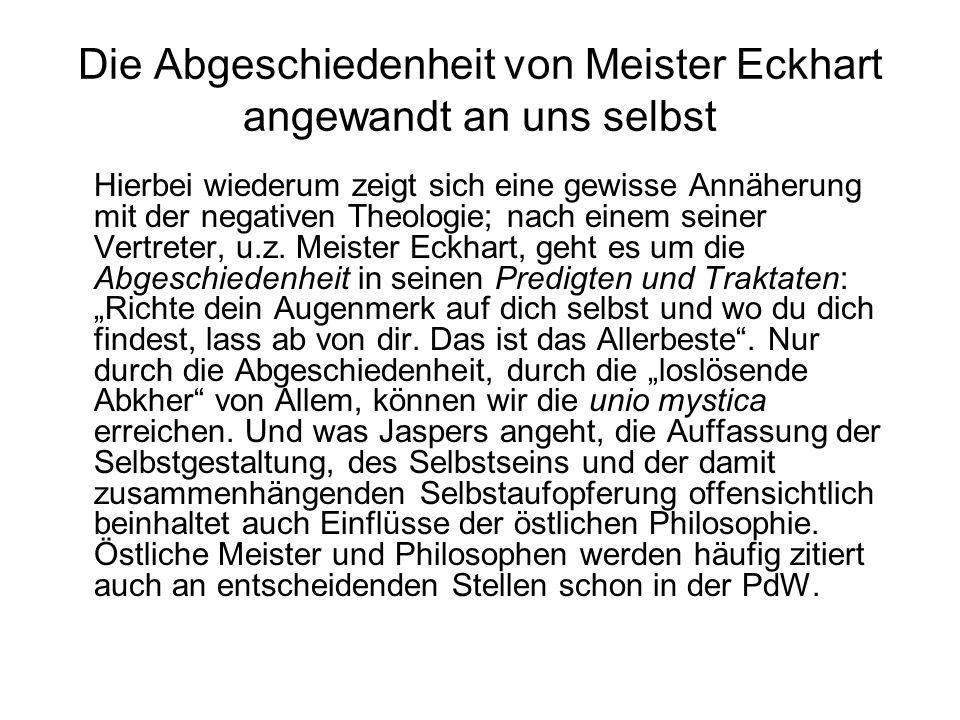 Die Abgeschiedenheit von Meister Eckhart angewandt an uns selbst
