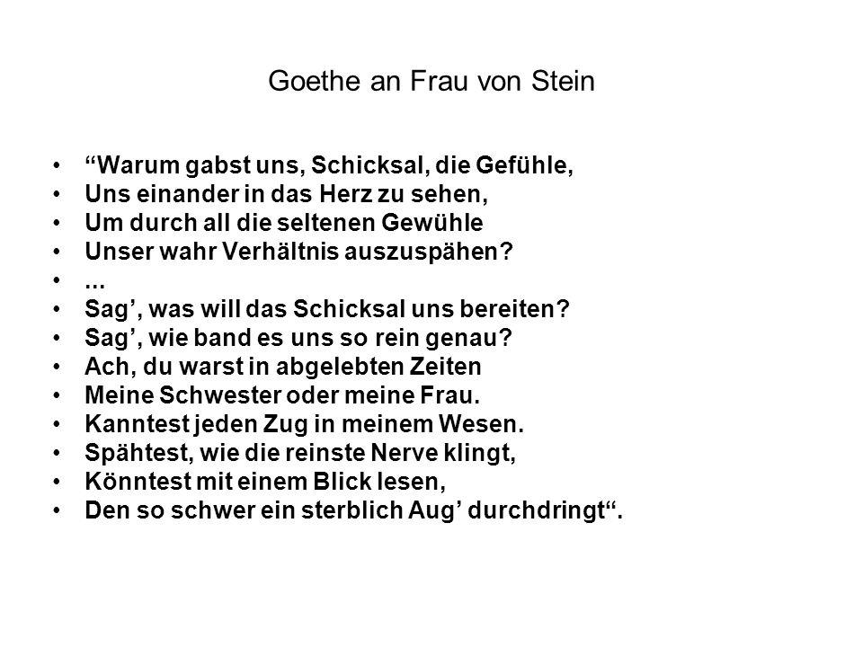 Goethe an Frau von Stein