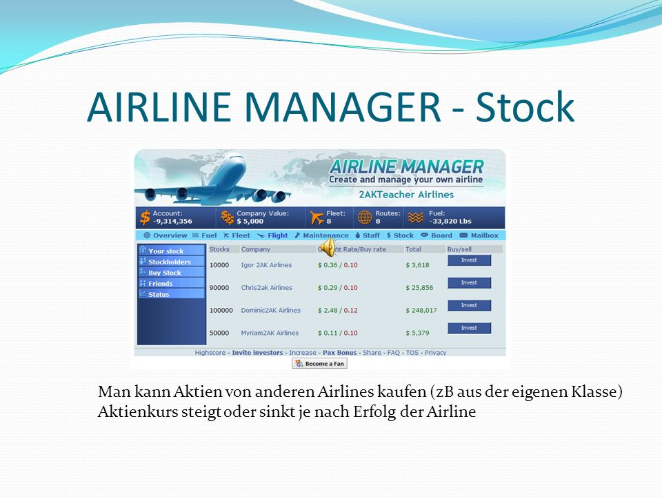 AIRLINE MANAGER - Stock