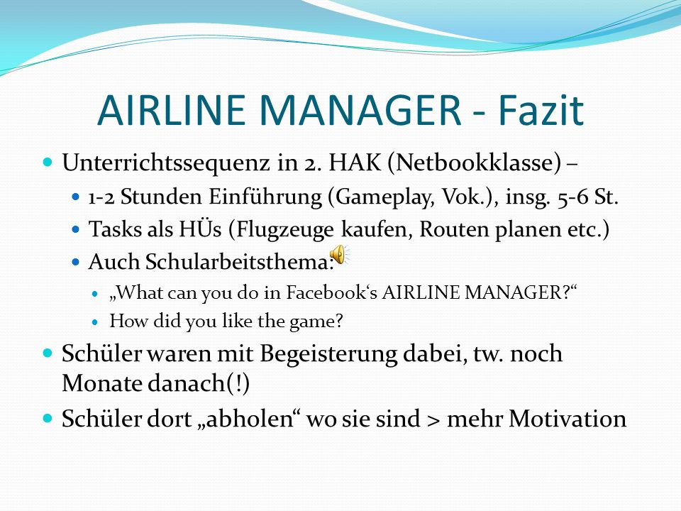 AIRLINE MANAGER - Fazit