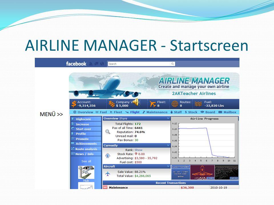 AIRLINE MANAGER - Startscreen