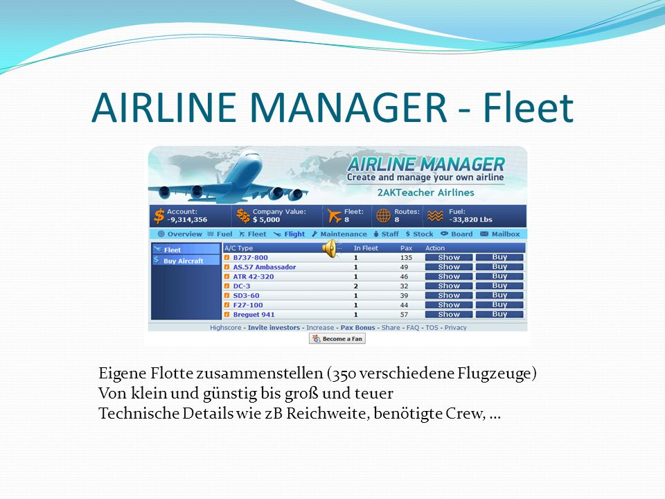 AIRLINE MANAGER - Fleet