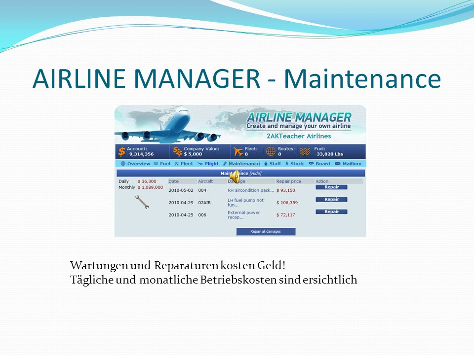 AIRLINE MANAGER - Maintenance