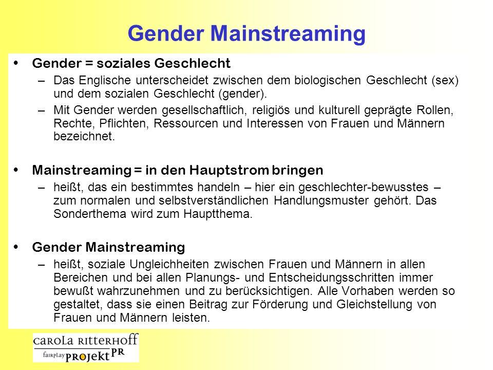 Gender Mainstreaming Gender = soziales Geschlecht