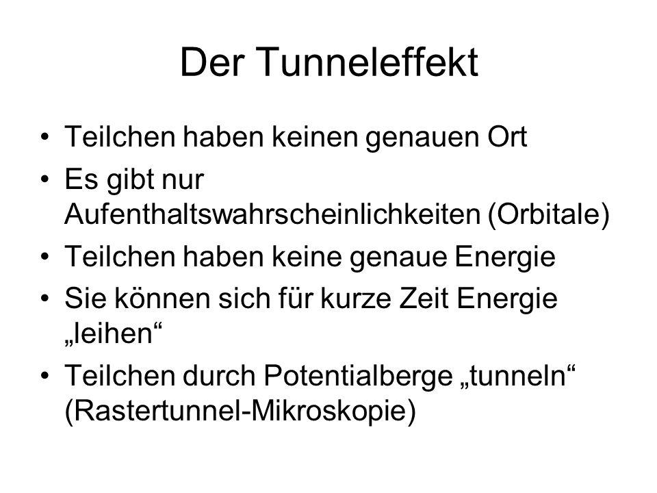 Der Tunneleffekt Teilchen haben keinen genauen Ort