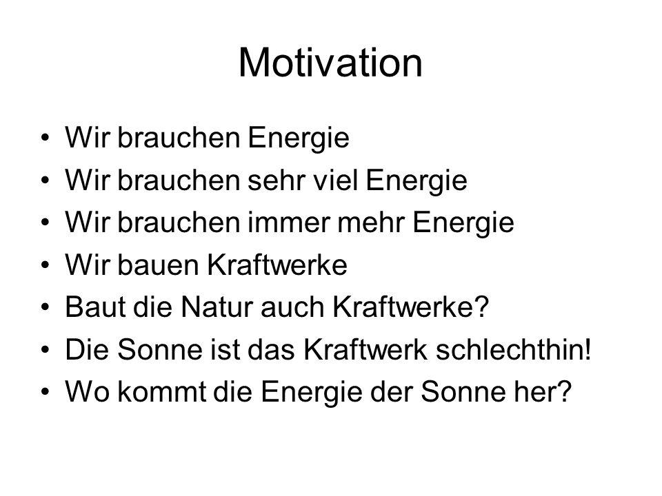 Motivation Wir brauchen Energie Wir brauchen sehr viel Energie