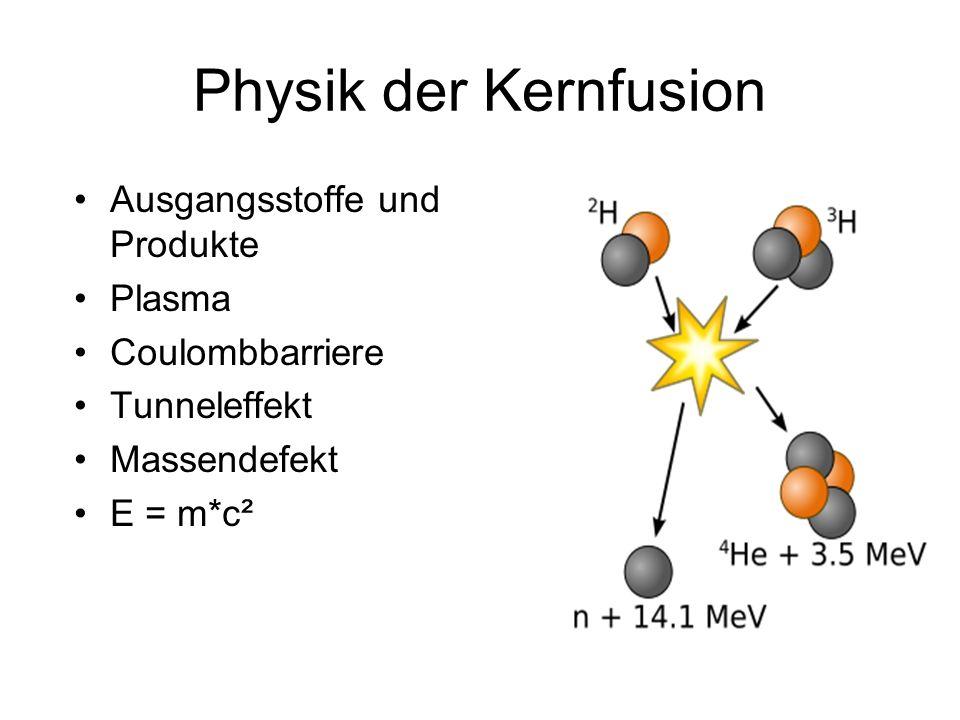 Physik der Kernfusion Ausgangsstoffe und Produkte Plasma