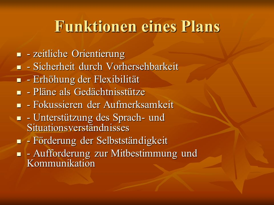 Funktionen eines Plans
