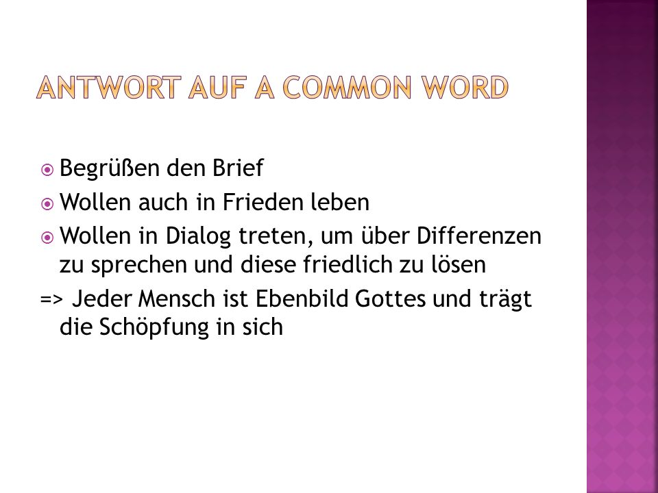 Antwort auf a common word