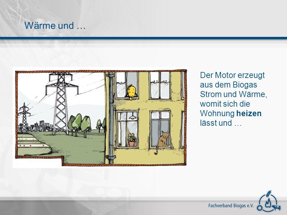 Wärme und … Der Motor erzeugt aus dem Biogas Strom und Wärme, womit sich die Wohnung heizen lässt und …