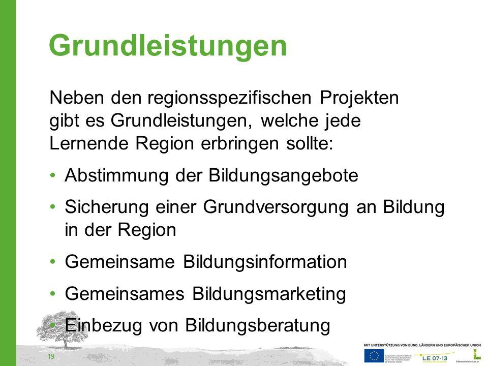 Grundleistungen Neben den regionsspezifischen Projekten