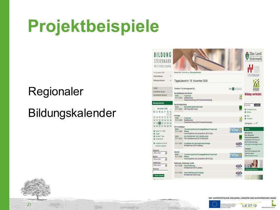 Projektbeispiele Regionaler Bildungskalender