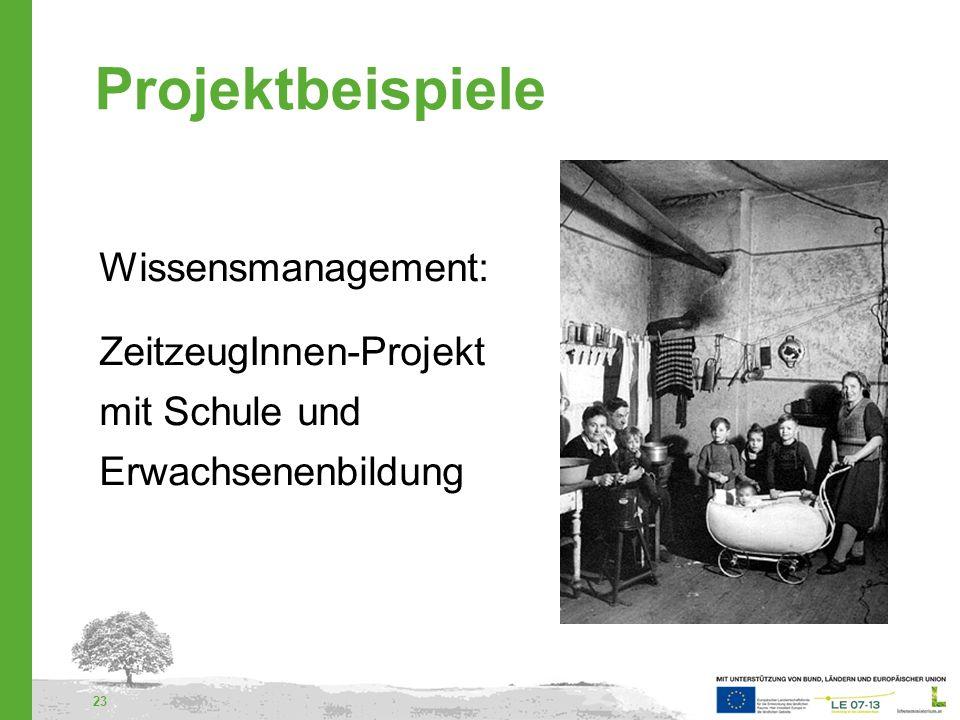 Projektbeispiele Wissensmanagement: