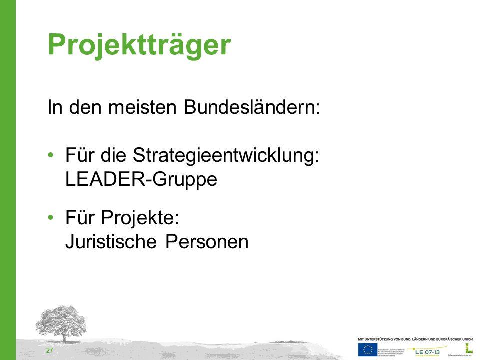 Projektträger In den meisten Bundesländern:
