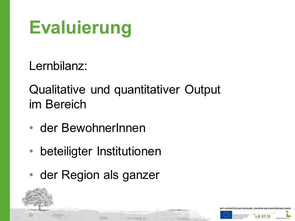 Evaluierung Lernbilanz: Qualitative und quantitativer Output