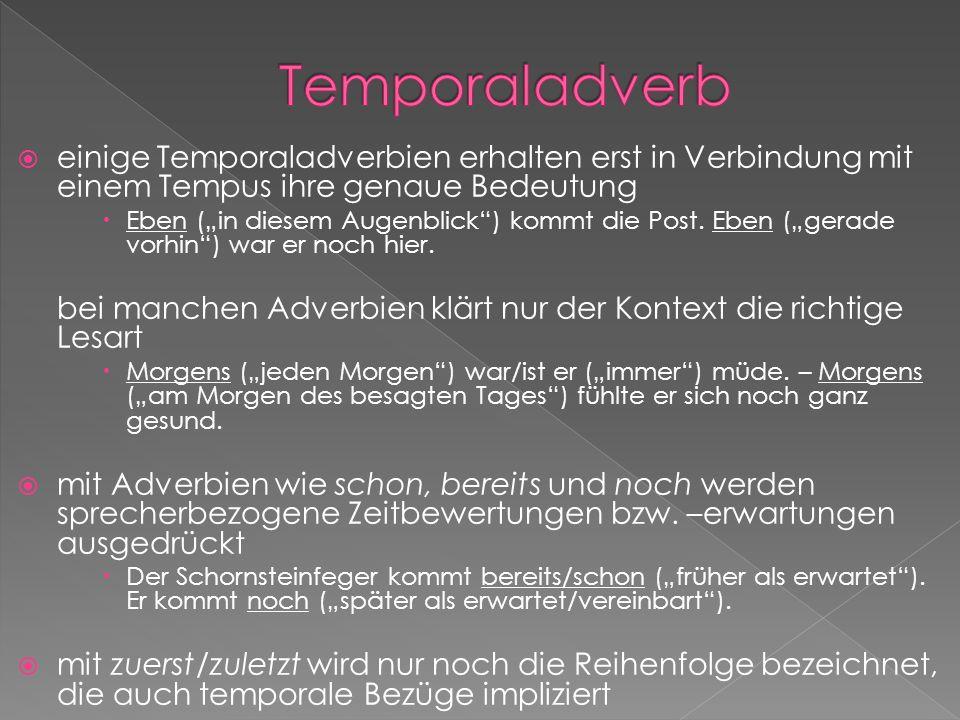 Temporaladverbeinige Temporaladverbien erhalten erst in Verbindung mit einem Tempus ihre genaue Bedeutung.