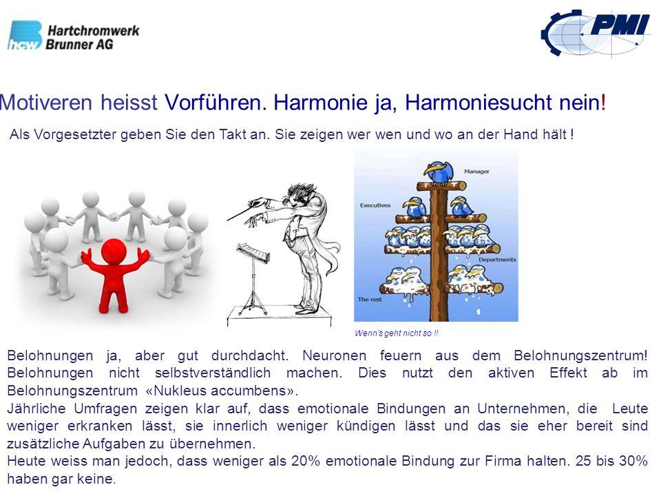 Motiveren heisst Vorführen. Harmonie ja, Harmoniesucht nein!