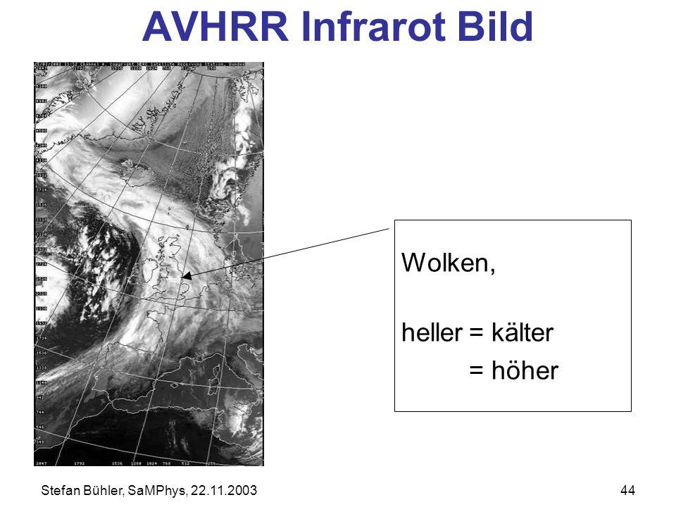 AVHRR Infrarot Bild Wolken, heller = kälter = höher
