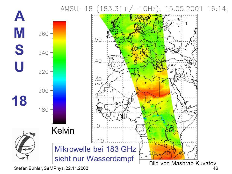 A M S U 18 Kelvin Mikrowelle bei 183 GHz sieht nur Wasserdampf