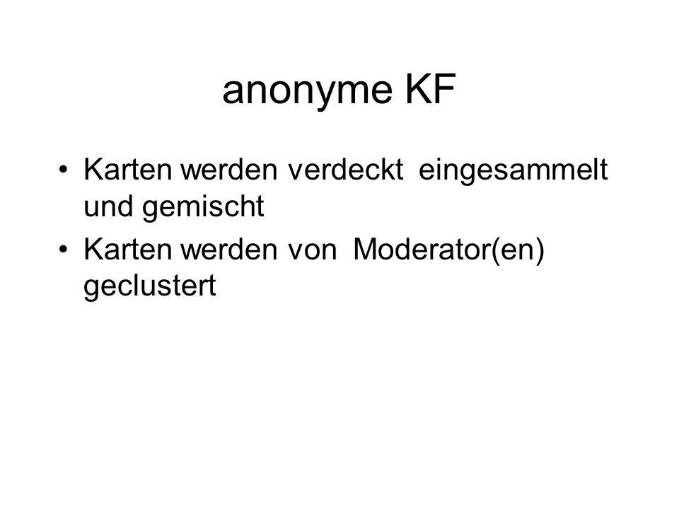 anonyme KF Karten werden verdeckt eingesammelt und gemischt