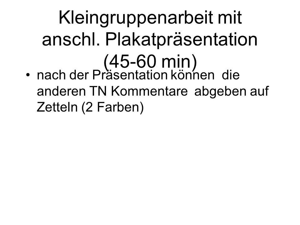 Kleingruppenarbeit mit anschl. Plakatpräsentation (45-60 min)