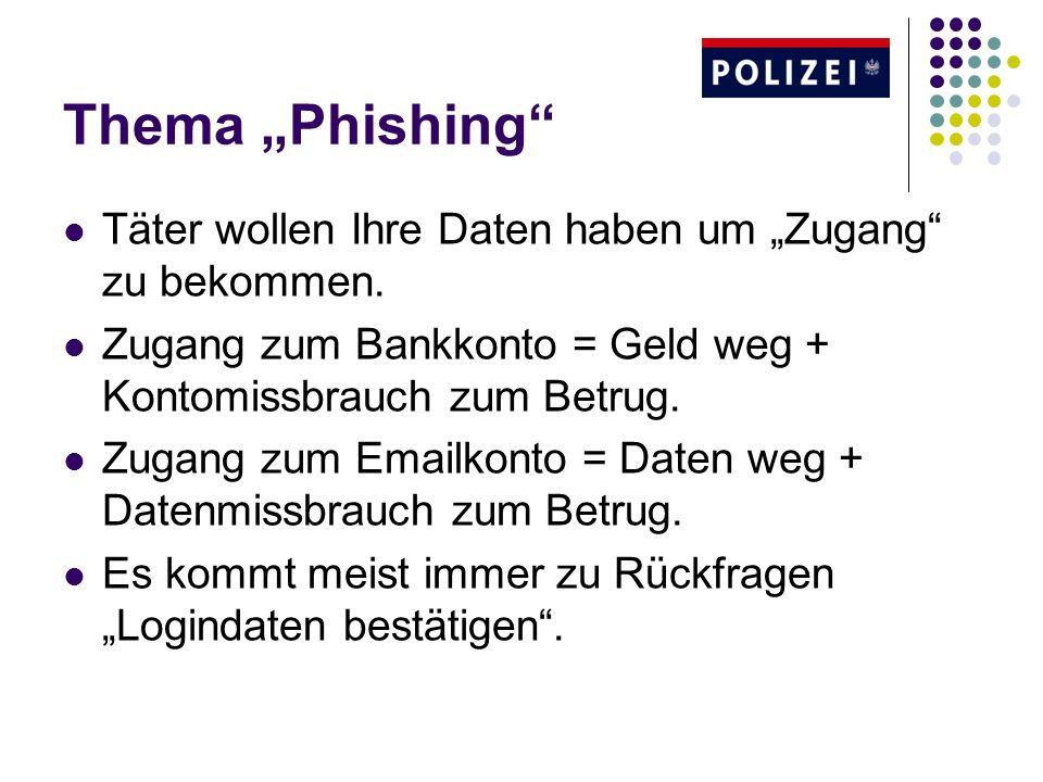"""Thema """"Phishing Täter wollen Ihre Daten haben um """"Zugang zu bekommen. Zugang zum Bankkonto = Geld weg + Kontomissbrauch zum Betrug."""