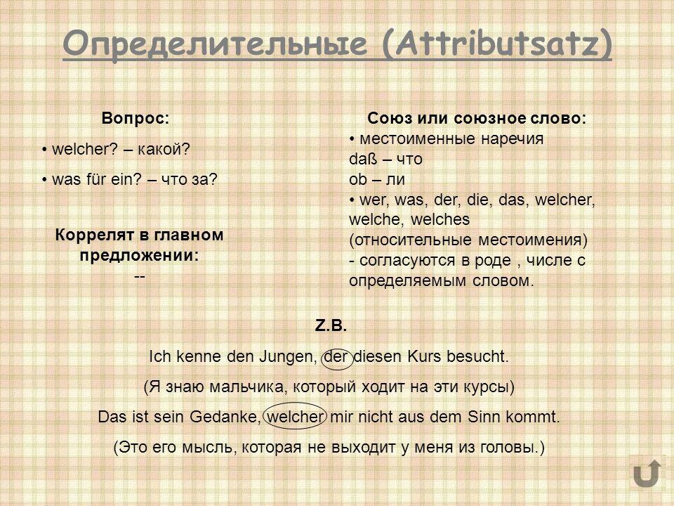 Определительные (Attributsatz)