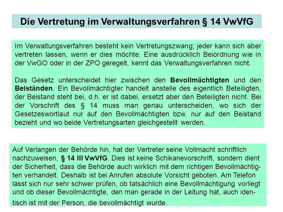 Die Vertretung im Verwaltungsverfahren § 14 VwVfG