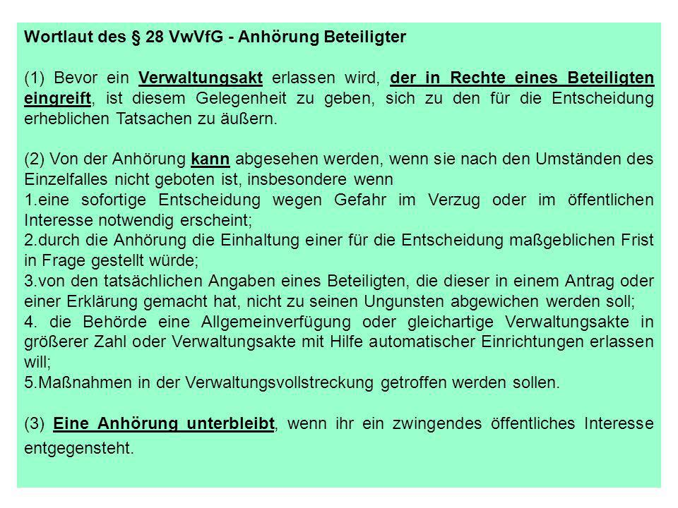Wortlaut des § 28 VwVfG - Anhörung Beteiligter